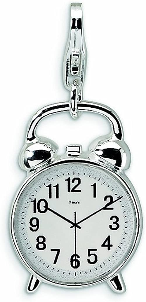 Sterling Silver 3-D Enameled House Clock W//Lobster Clasp Charm