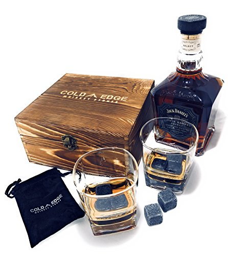 Whiskey Stones and Drinking Glasses Gift Set - 8 Granite Chilling Stones, 2 Premium 9 Ounce Whiskey Glasses, Display Case, Chills Drink, No Dilution, Perfect Birthday Gift for Him or Barware Accessory