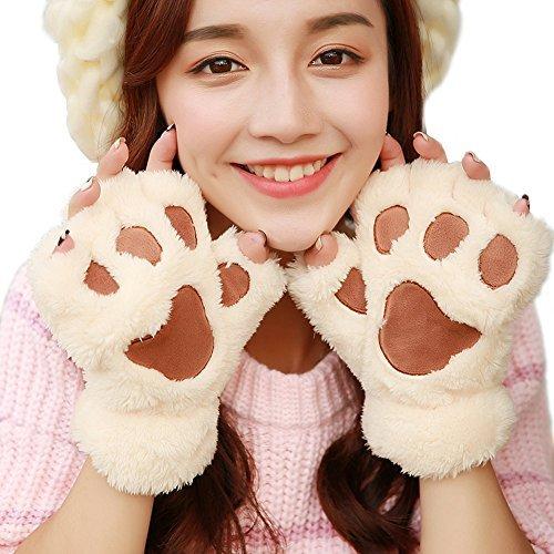 Women Winter Cute Fluffy Bear Plush Paw Claw Gloves Soft Mittens (half finger, Beige) - Animal Gloves
