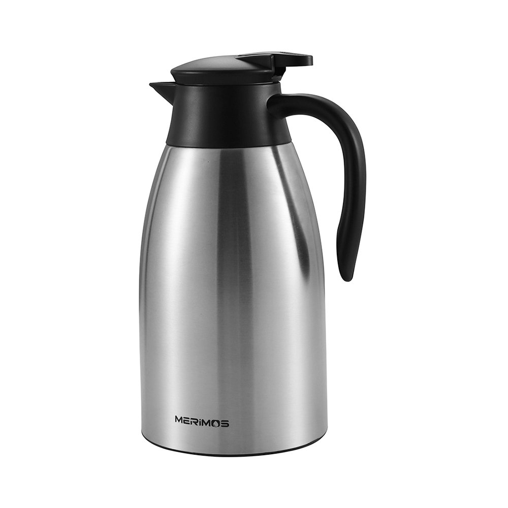 Merimos 68 oz Stainless Steel Coffee Carafe, Double Wall Vacuum Insulated Thermal Carafe for Tea Coffee Milk Fruit Juice, 2 Liter Water Pitcher with Lid(Silver)