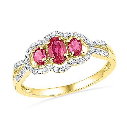 Size - 7.5 - Solid 10k Yellow Gold Oval Round Pink and White Diamond Engagement Ring OR Fashion Band Prong Set 3 Stone Shaped Halo Ring (1/6 cttw)
