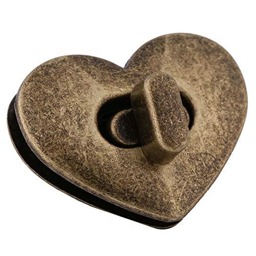 5PC Heart Shape Clasp Turn Lock Twist Lock Metal Hardware for Handbag Bags Purse (Color - Bronze)