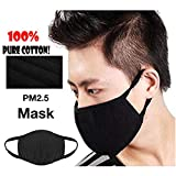 Romance8 3 Pack Unisex Mouth Mask Adjustable Anti Dust Face Mouth Mask,Black Cotton Face Mask for Cycling Camping Travel