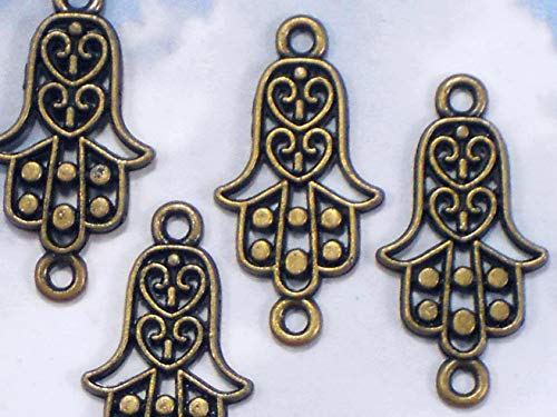 10 Hand Hamsa Connectors Links Bronze Tone Heart Dangles - Evil Eye Charm Vintage Crafting Pendant Jewelry Making Supplies - DIY for Necklace Bracelet Accessories by CharmingSS