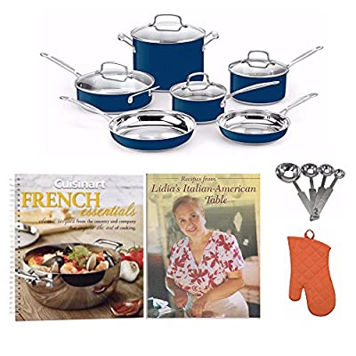 Cuisinart CSS-10MB Stainless Steel Chef's Classic 10-Piece Cookware Set + 2 Free Cookbooks, Oven Mitt and More