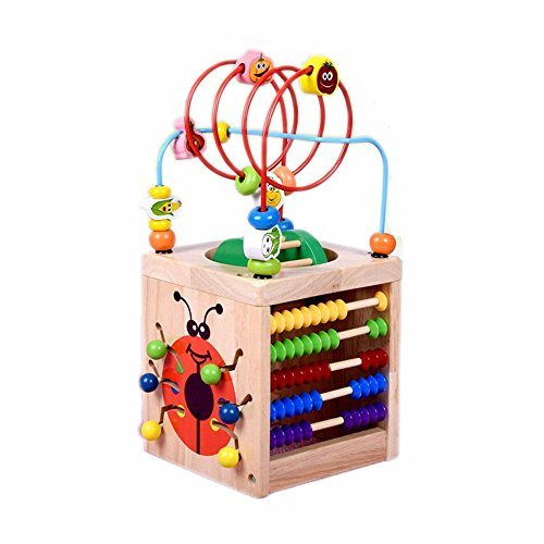 6 in 1 Multi-Function Wooden Activity Center Box Baby Toy Beads Maze Shape Color Number Early Education beetle Toy]()