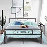 SimLife Metal Bed Frame Full Size 10 Legs Two Headboards Mattress Foundation Steel Platform Bed No Box Spring Needed Brown