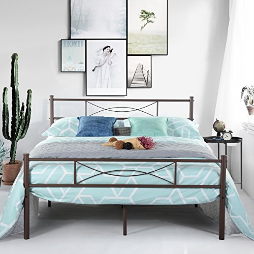 SimLife Metal Bed Frame 10 Legs Two Headboards Mattress Foundation Steel Platform Bed Box Spring Replacement Under-Bed Storage Quiet Noise-Free Full Size Brown