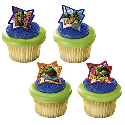 Amazoncom 24 Teenage Ninja Turtles Cupcake Ring Toppers Birthday