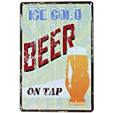 ICE COLD BEER ON TAP Metal Sign Tin Signs Retro Shabby Wall Plaque Metal Poster Plate 20x30cm Wall Art Coffee Shop Pub Bar Home Hotel Decor