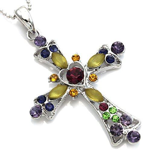 Designer Cross (SoulBreezeCollection Christian Cross Necklace Heart Shape Pendant Chain Charm Designer Jewelry (Darker Multi-Color))
