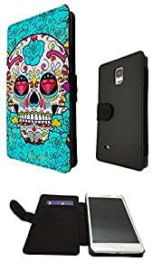 Samsung Galaxy Note 4 Full Face Sugar Skull Skulls Multi tattoo Diamond eye Designer Fashion Trend Full Case Book Style Flip cover Defender Credit Card Holder Pouch Case Cover iPhone Wallet Purse