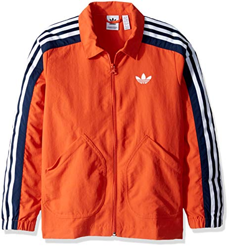 adidas Originals Boys' Big Nylon Coach Jacket, Legend Marine/White, X-Large