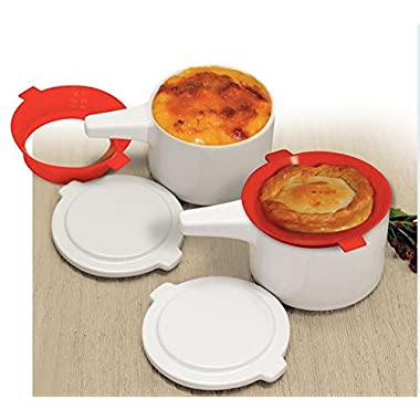 Wholeness Home Bake and Serve Bowls - From Oven To Fridge To Microwave- Featuring Exclusive Silicone No Drip Guard! FRENCH ONION SOUP, MAC AND CHEESE, STEWS, CASSEROLES, QUICHE, PIES & MORE!