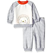Little Me Baby Boys' Sweatshirt and Pant Set, Grey Heather Multi, 6 Months