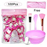 Jeanssar 100 Pieces Compressed Disposable Facial Mask Sheet Home DIY Skin Care, Get 1x Mask Bowl, 2x Mask Brushes, 1x Headband and 1x Sticker For Free