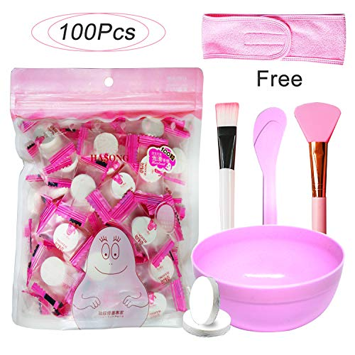 (Jeanssar 100 Pieces Compressed Disposable Facial Mask Sheet Home DIY Skin Care, Get 1x Mask Bowl, 2x Mask Brushes, 1x Headband and 1x Sticker For)