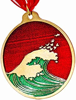 product image for Hokusai Wave Red and Green Enamel Holiday Ornament with Ribbon