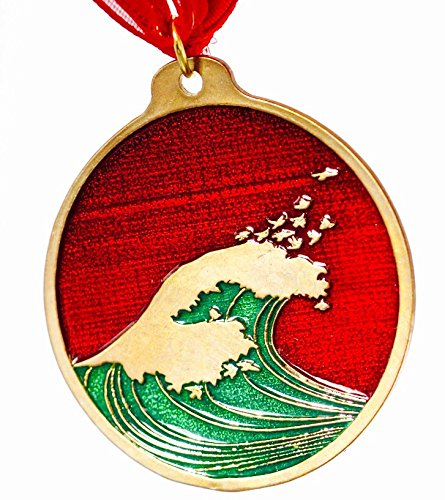 Holiday Enamel (Hokusai Wave Red and Green Enamel Holiday Ornament with)