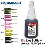 Permabond 735 (1oz Bottle+Tip Multipack) Instant Adhesive-Black Magic Toughened & Flexible Slow-Set-Gap Filling