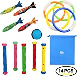 Raise Toy Deluxe Underwater Swimming/Diving Pool Toys Diving Rings(4Pcs),Diving Sticks(5Pcs), Torpedo Bandits(4Pcs)&Water Bouncing Ball(1Pcs) with Waterproof Storage Bag - Pack of 14