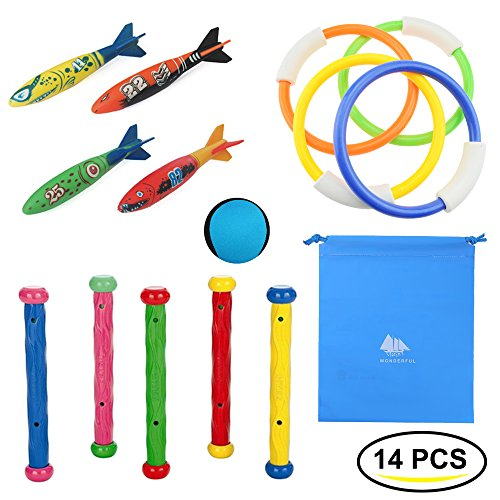Deluxe Swimming Pool - Raise Toy Deluxe Underwater Swimming/Diving Pool Toys Diving Rings(4Pcs),Diving Sticks(5Pcs), Torpedo Bandits(4Pcs)&Water Bouncing Ball(1Pcs) with Waterproof Storage Bag - Pack of 14