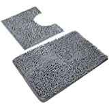 vdomus microfiber bathroom contour rugs combo set of 2 soft shaggy non slip bath shower mat and ushaped toilet floor rug dark gray - Rug Sets