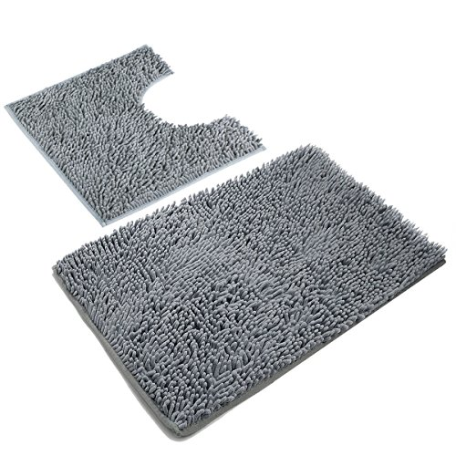 VDOMUS Microfiber Bathroom Contour Rugs Combo, Set of 2 Soft Shaggy Non Slip Bath Shower Mat and U-shaped Toilet Floor Rug (Dark Gray) (Bathroom Contour Rug Sets)