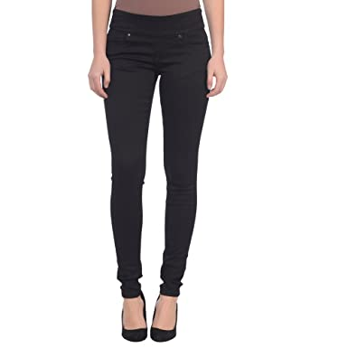 Lola Jeans Women's Anna Mid Rise Pull On 4-Way Stretch Denim Skinny Jean (