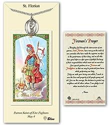 Pewter St. Florian Medal On An 24 Inch Heavy Curb Chain With A St Florian - Firemans Prayer Prayer Card.
