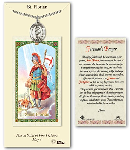 - Bonyak Jewelry Pewter St. Florian medal on an 24 inch Heavy Curb Chain with a St Florian - Firemans Prayer Prayer Card.