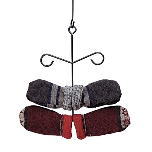 Renovator's Supply Glove Mitten Rack Holder Wall Or Ceiling Mount Rust Resistant Finish Holds 6 Mittens, Gloves, Scarves Or Jackets, Winter Time Fireplace Accessory ()