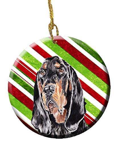 Black and Tan Coonhound Candy Cane Christmas Ceramic Ornament SC9609CO1 (Coonhound Ornament)