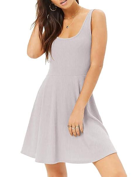 67c95b2ee4 MISFONDLE Women's Sexy Casual Summer Beach Sleeveless Ribbed Cotton Skater  T-Shirt Dress Grey