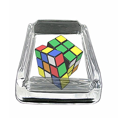 "Price comparison product image Rubix Cube Em1 Glass Ashtray Smoking / Coin Holder 4""x3"" Heavy Duty Decorative Easy Clean Great For Bars And Patios"