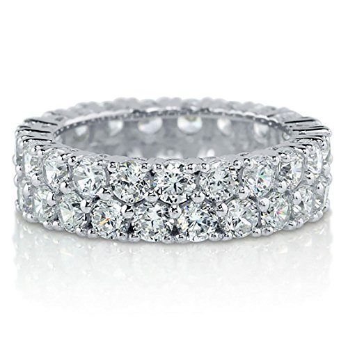 Sterling Silver .925 Bridal Cubic Zirconia CZ 2 Row Pave Eternity Wedding Band Ring Size 4-10 (10) Two Row Pave