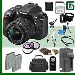 Nikon D3300 Cmos Dslr Camera With 18-55mm Vr Ii Lens (Black) + 32gb + Green's Camera Bundle