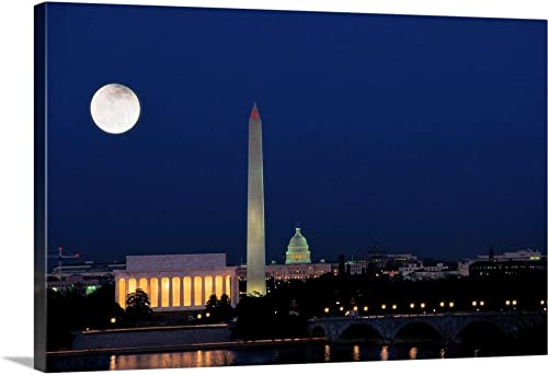 Washington DC at Night Canvas Wall Art Print