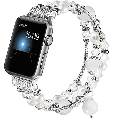 GAISHI Compatible for Apple Watch Band 42mm 44mm, Women Girl Elastic Stretch Handmade Pearl Bracelet iWatch Band for 42mm Apple Watch Series 4 Series 3 Series 2 Series 1, White