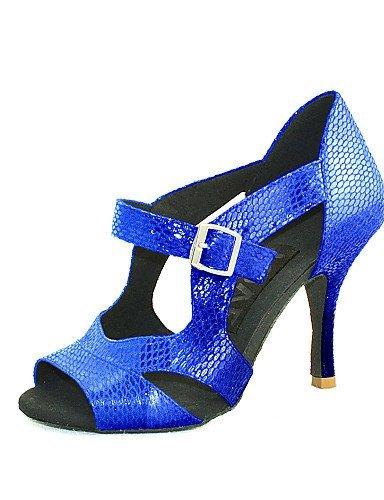 Damen Silber Schwarz Anpassbare Salsa ShangYi Absatz Schwarz Gold Blau Kunstleder Rot Tanzschuhe Latin Customized UBxnqPS