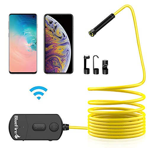 (BlueFire 5MP HD WiFi Borescope 1944P Semi-Rigid Wireless Endoscope IP68 Waterproof Inspection Camera Snake Camera for Android and iOS Smartphones iPhone Samsung iPad Tablet (11.5FT))