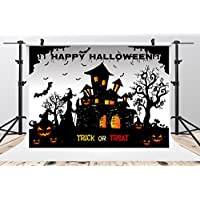 SUSU 10x6.5ft/3x2m Happy Halloween Photography Backdrops Black Castle Photo Background Pumpkin Photo Booth Seamless