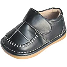 Squeaky Shoes Toddler Boys Black Leather Dress Shoes