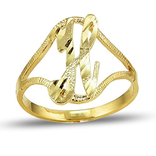 LoveBling 10K Yellow Gold Ladies Cursive Alphabet Initial Ring (H, 7)