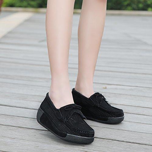 HKR Womens Ladies Platform Loafers Flats Wedge Suede Moccasins Tassel Wide Width Comfort Woking Shoes Black Hollow oJz29THY