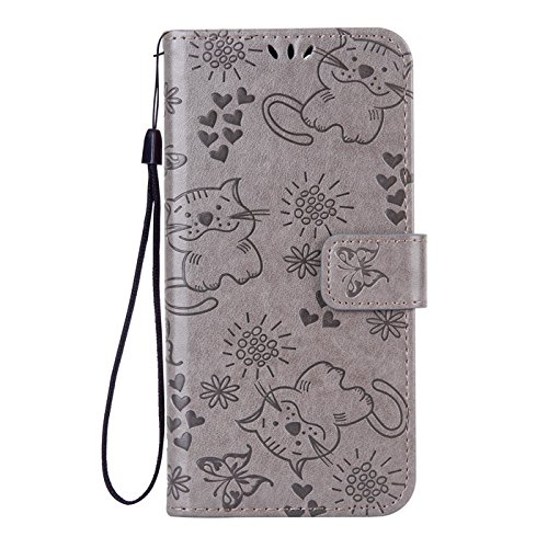 Huawei P8 Lite Case, Aipyy [Cat Embossing] Wallet Case PU Leather Wallet Case with [Kickstand] &[ID Card Slots] Protective...
