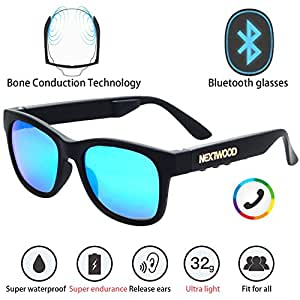 NEXTWOOD Bluetooth Headsets Glasses Sunglasses Wireless Bone Conduction Waterproof Intelligent MP3 4 Color Telephone Cycling (Blue coated Equipped with myopia lenses as required)