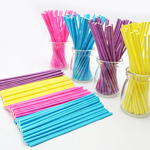 200 Count 6 Inch Colored Lollipop Sticks for Cake Pops Apple Candy (Blue, Purple, Yellow, Pink )