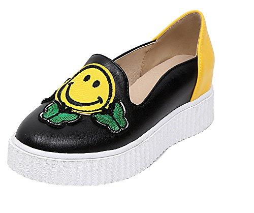 AllhqFashion Damen Rund Zehe Mittler Absatz Blend-Materialien Gemischte Farbe Pumps Schuhe Gelb