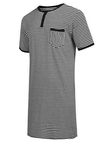 Stretch Cotton Sleepshirt (Ekouaer Mens Short-Sleeve Cotton Nightshirt Big & Tall Stripe Henley Sleep Shirt)